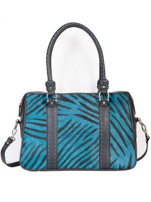 No. B114 Hair on Calf Leather Handbag, Color: Black/Turquoise