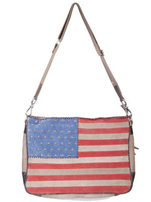 No. B124 Suede Star Stud Flag Handbag, Color: Red/Beige/Blue