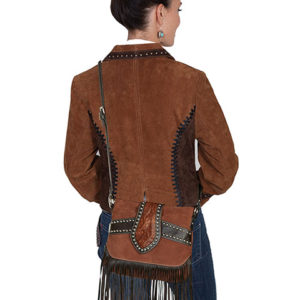 No. B136 Suede and Leather Trim Studded Fringe Handbag