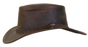 No. 4H57Nullabour Vintage Leather Hat, Color Ash