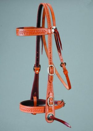 No. 5-6 OLD STYLE HEADSTALL, W/ Noseband, Basket Stamped