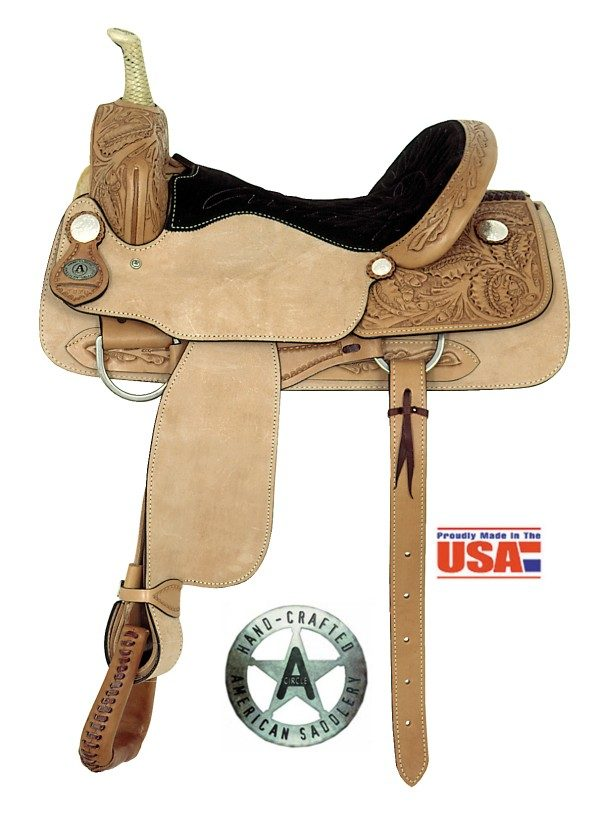 "American No. 1976Oak Leaf Cutter Saddle, 16"" Seat, QH Bars"