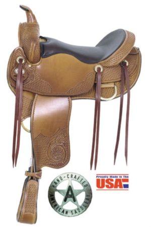 "American No 1315Hi-Grade Trail Saddle,16"" seat. Semi QH Bars"