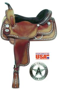 "American No. 1335Diamond Spotted Trail Saddle, 16"", Semi QH"