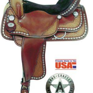 "American No. 1335Diamond Spotted Trail Saddle, 16"", Semi QH"