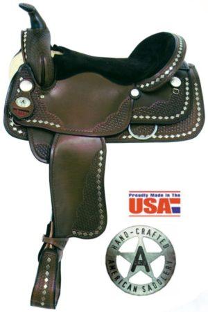 "American No. 1339Diamond Spotted Trail Saddle, 16"", Semi QH"