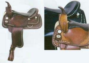 "American No.1340Buckstitched Trail Saddle, 16"", Semi-QH Bars"