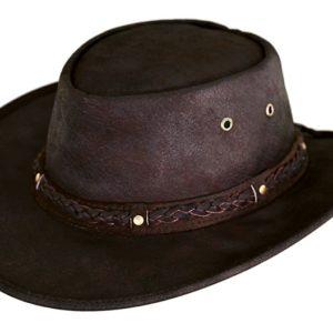 No. 1377Iron Bark Leather Crushable Hat